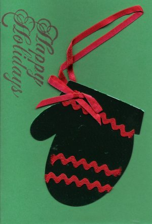 Mitten Happy Holidays Card-Green