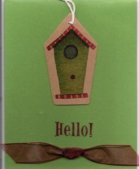 Birdhouse Hello Card