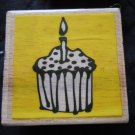 Rubber Stamp Cupcake Single Candle Lit Flame Sprinkles