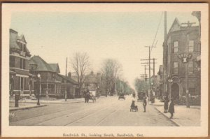 Postcard Sandwish St. Looking South Sandwish, Ont. unused card 1920s