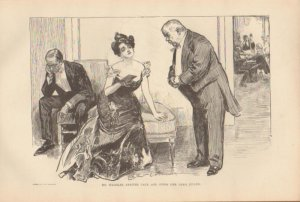 Vintage Art Print The Gibson Girl- Mr. Waddles Arrives Late Circa 1907 --G-37