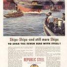1941 Republic Steel America Building Ships Advertising Print Ad-tva1476