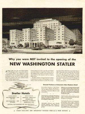 1943 New Washington D.C. Statler Hotels Advertising Print Ad-Building-tva1471