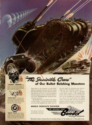 1942 Bendix Aviation Invisible Crew Bullet Belching Monsters Print Ad-tva60