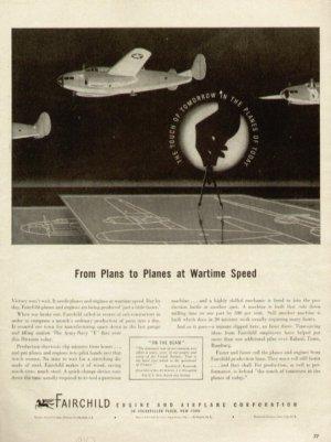 1943 Fairchild Engine Airplane Corp. Plans to Planes War Vintage Print Ad-tva238