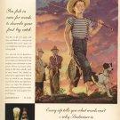 1946 Budweiser Beer Advertising Print Ad -Fishing-Dog-Boy-tva1513