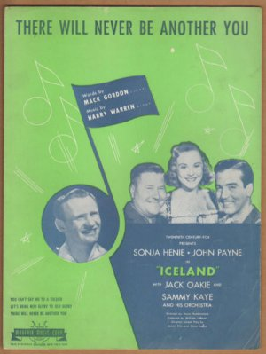Vintage Sheet Music There Will Never Be Another You -Sonja Henie Iceland 1942