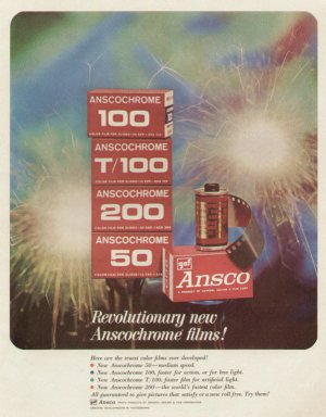 1960s Anscochrome Films 100, T100, 50 -  Advertising Print Ad - tva2289