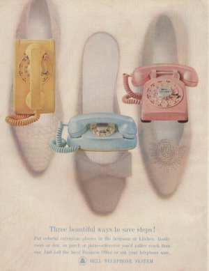1963 Bell Telephone Colorful Phones Home Business Advertising Print Ad - tva2291