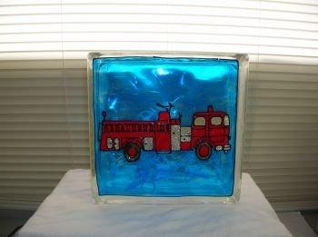 Hand Painted Fire Truck Glass Block Night Light