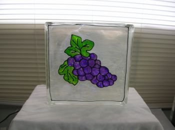 Hand Painted Grapes Glass Block Night Light