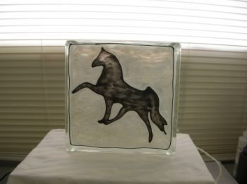Hand Painted Horse Glass Block Night Light