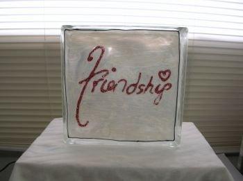 Hand Painted Friendship Glass Block Night Light