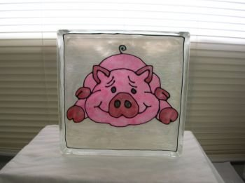 Hand Painted Pig Glass Block Night light