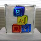 Hand Painted Baby Glass Block Night Light