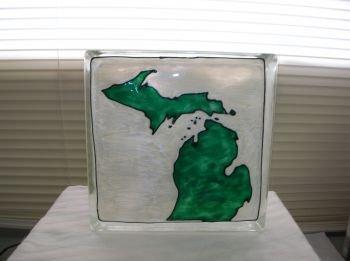 Hand Painted Michigan Glass Block Light