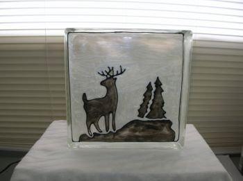 Hand Painted Deer Glass Block Light