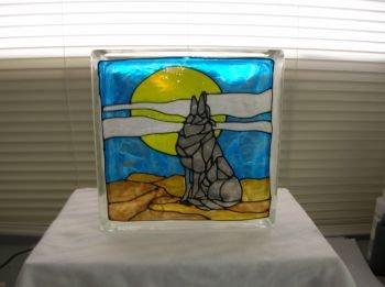 Hand Painted Wolf Glass Block Light