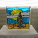 Hand Painted Wolf Glass Block Light