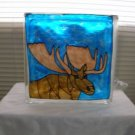 Hand Painted Moose Glass Block Light