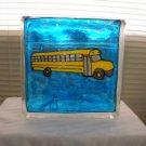 Hand Painted School Bus Glass Block Light