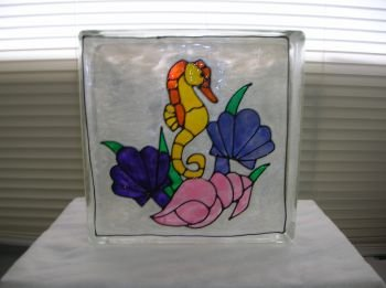 Hand Painted Seahorse Glass Block Light