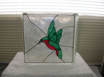 Hand Painted Hummingbird Glass Block Light