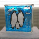 Hand Painted Penquin Family Glass Block Light