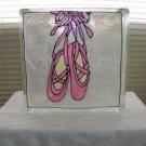 Hand Painted Ballerina Slippers Glass Block Lght