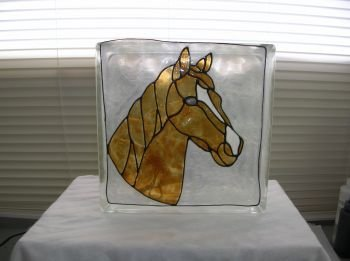 Hand Painted Horse Glass Block Light