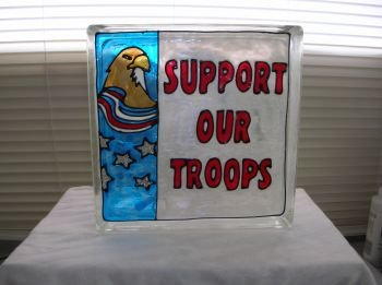 Hand Painted Support Our Troops Glass Block Light