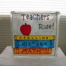 Hand Painted Teachers Rule Glass Block Light