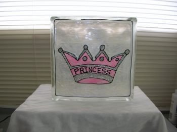 Hand Painted Princess Glass Block Light