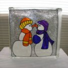 Hand Pained Kissing Snowmen Glass block Light