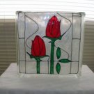 Hand Painted Tulips Glass Block Light