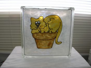 Hand Painted Cat On Pot Glass Block Light