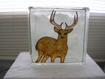 Hand Painted White Tail Deer Glass Block Light