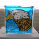 Hand Painted Great Eagle Glass Block Light