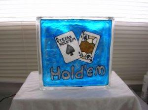 Hand Painted Texas Hold'em Glass Block Light
