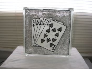 Hand Painted Royal Flush Glass Block Night Light