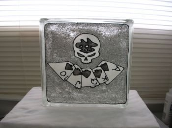 Hand Painted Poker Face Glass Block Light