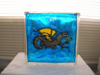 Hand Painted Full Body Dragon Glass Block Light