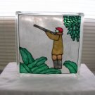 Hand Painted Hunter Glass Block Light