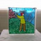 Hand Painted Golfer Galss Block Light