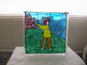 Hand Painted Golfer Galss Block Light