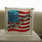 Hand Painted American Flag Glass Block Light