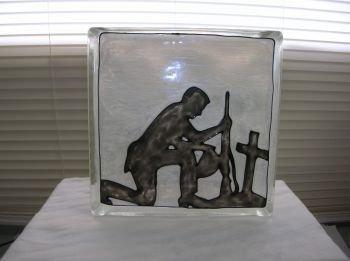 Hand Painted Praying Soldier Glass Block Light