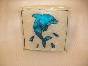 Hand Painted Dolphin Jumping Glass Block Light