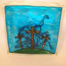 Hand Painted Three Crosses Glass Block Light