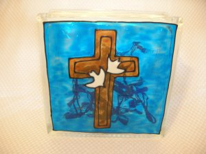Hand Painted Cross With Doves Glass Block Light